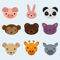 animal face,set animal face