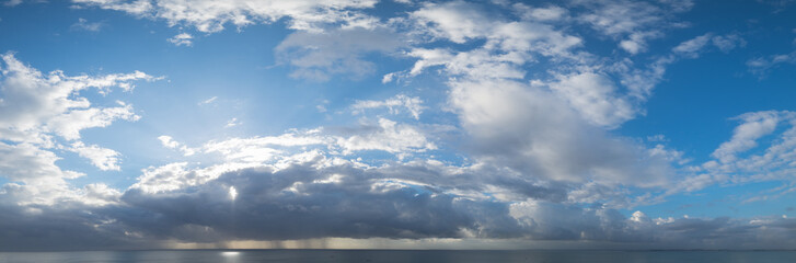 Panorama view of sky and cloud during sunset with dramatic sky background