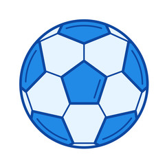 Soccer ball vector line icon isolated on white background. Soccer ball line icon for infographic, website or app. Blue icon designed on a grid system.