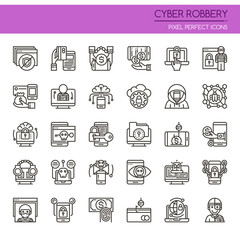 Cyber Robbery Elements , Thin Line and Pixel Perfect Icons.