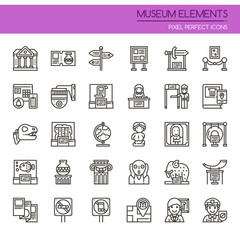 Museum Elements , Thin Line and Pixel Perfect Icons.