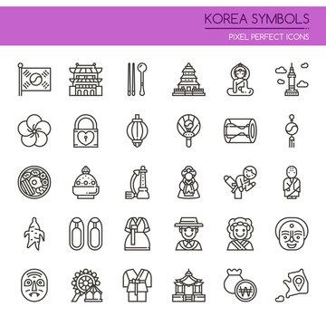 Korea Symbols , Thin Line and Pixel Perfect Icons.