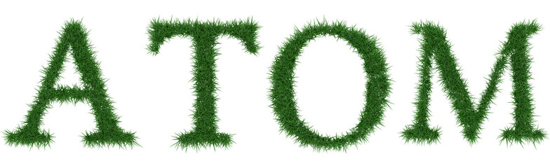 Atom - 3D rendering fresh Grass letters isolated on whhite background.