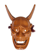Hannya,Face of Traditional japanese theater masks made of wood on white background