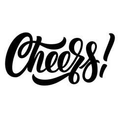 Cheers hand lettering, custom typography, black ink calligraphy, isolated on white background. Vector type illustration.