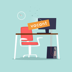 Vacant workplace. Office desk with computer, chair. Interior. Flat design vector illustration.