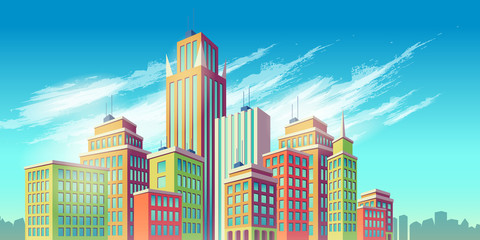 Vector cartoon illustration, banner, urban background with modern big city buildings, skyscrapers, business centers. City landscape. Wall mural