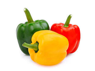 yellow,red,green, sweet bell pepper or capsicum isolated on white background