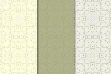 Geometric set of olive green seamless patterns for design