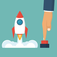 Rocket of launch business metaphor. Launch project. Businessman hand pushing start button. Start up concept. Vector illustration cartoon flat design style. Isolated on white background. Takeoff.