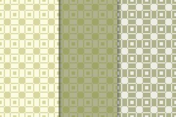 Green olive geometric set of seamless patterns