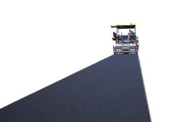 industrial machine pouring asphalt on road