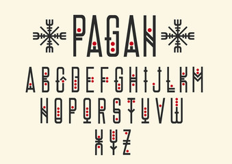 Vector alphabet set. Capital letters in geometric ethnic style with red points. For hipster theme, trendy posters.