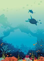Turtles, coral reef, fishes, underwater sea.