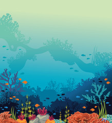 Underwater sea - coral reef, arch, fishes.