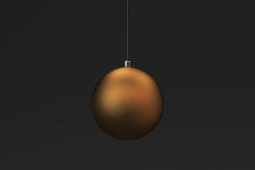 Gold christmas balls on black background