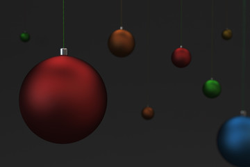 Set of colorfull christmas balls on black background