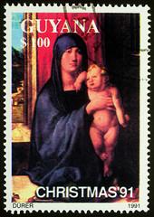 Madonna and Child by Albrecht Durer on postage stamp