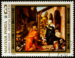 Painting Nativity by Albrecht Durer on postage stamp