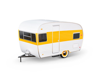 Retro trailer isolaten on white. Unusual 3d illustration of a classic caravan. Camping and traveling concept