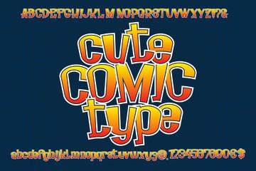 Cute Comic Type. Isolated english alphabet.