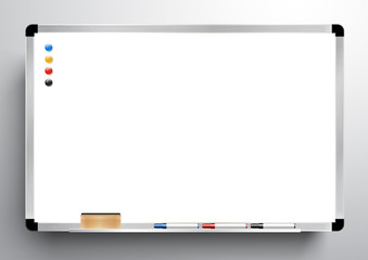 whiteboard background frame with eraser whiteboard, color marker and magnetic, vector illustration