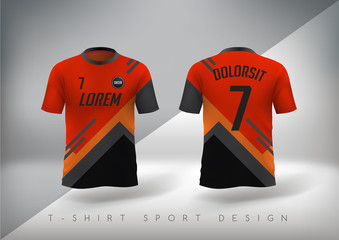 Soccer t-shirt design slim-fitting with round neck. Vector illustration