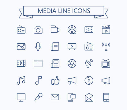 Multimedia vector icons set. Thin line outline 24x24 Grid. Pixel Perfect.Editable stroke.