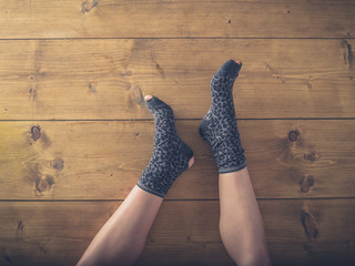 Over view of woman in worn socks