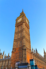 Big Ben clock tower London, isolated against sky, vertical, London is The most visited cities around the world.