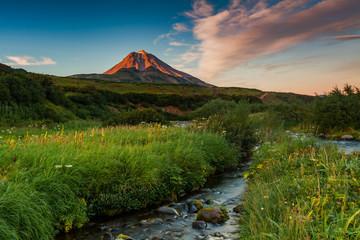 Classic active stratovolcano Vilyuchinsky. Eurasia, Russian Far East, Kamchatka Region