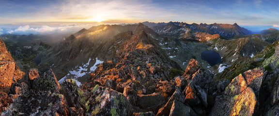 Wall Mural - Panorama of mountain landscape in Tatras at sunrise