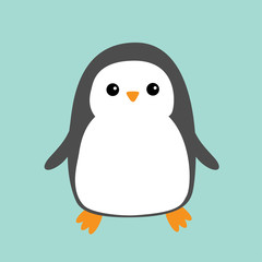 Penguin. Cute cartoon character. Arctic animal collection. Baby bird. Flat design Blue winter background. Isolated.