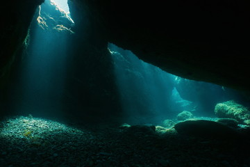 Underwater cave with sunlight from a hole, natural scene, Mediterranean sea, Pyrenees Orientales, Roussillon, France
