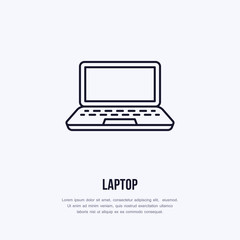 Laptop notebook with blank screen flat line style icon. Wireless technology, portable computer sign. Vector illustration of communication equipment for electronics store.