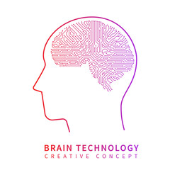 Future artificial intelligence technology. Mechanical brain creative idea vector concept