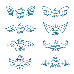 Elegant angel flying wings. Hand drawn wing tattoo vector design collection