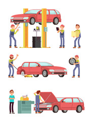 Car repair auto service with mechanic characters in uniform vector set