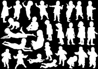 twenty seven child silhouettes collection on black