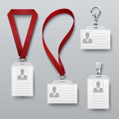 Id security cards and identification badge with lanyard vector set