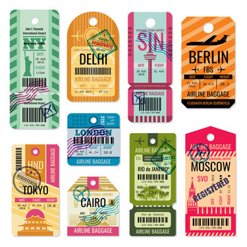 Vintage baggage tags and luggage labels vector set