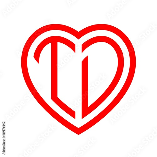 Initial Letters Logo Td Red Monogram Heart Love Shape Stock Image