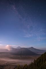 milky way over Bromo National Park, Java - Indonesia. Mount. Bromo at Bromo tengger semeru national park, East Java, Indonesia