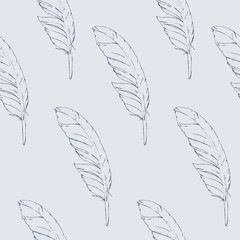 Seamless pattern blue hand-drawn feathers on a bright background. Vector