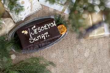 "christmas ceke-gingerbread with the inscription ""wesołych świąt"""