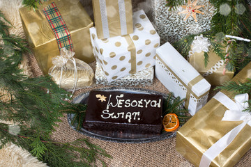 "christmas ceke-gingerbread with the inscription ""wesołych świąt"""