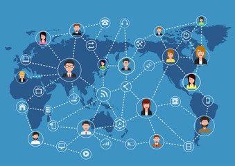 Global business communication connection network concept. vector illustration