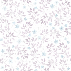 Subtle ditsy flowers and leaves. Seamless pastel floral pattern. Watercolor