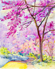 Painting colorful of  Wild himalayan cherry on  mountain and emotion