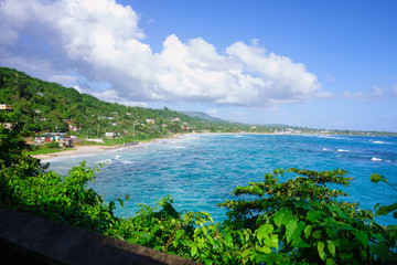 View to the Long bay beach and surrounding areas in Portland Parish in the East coast of Jamaica on 30 December 2013.